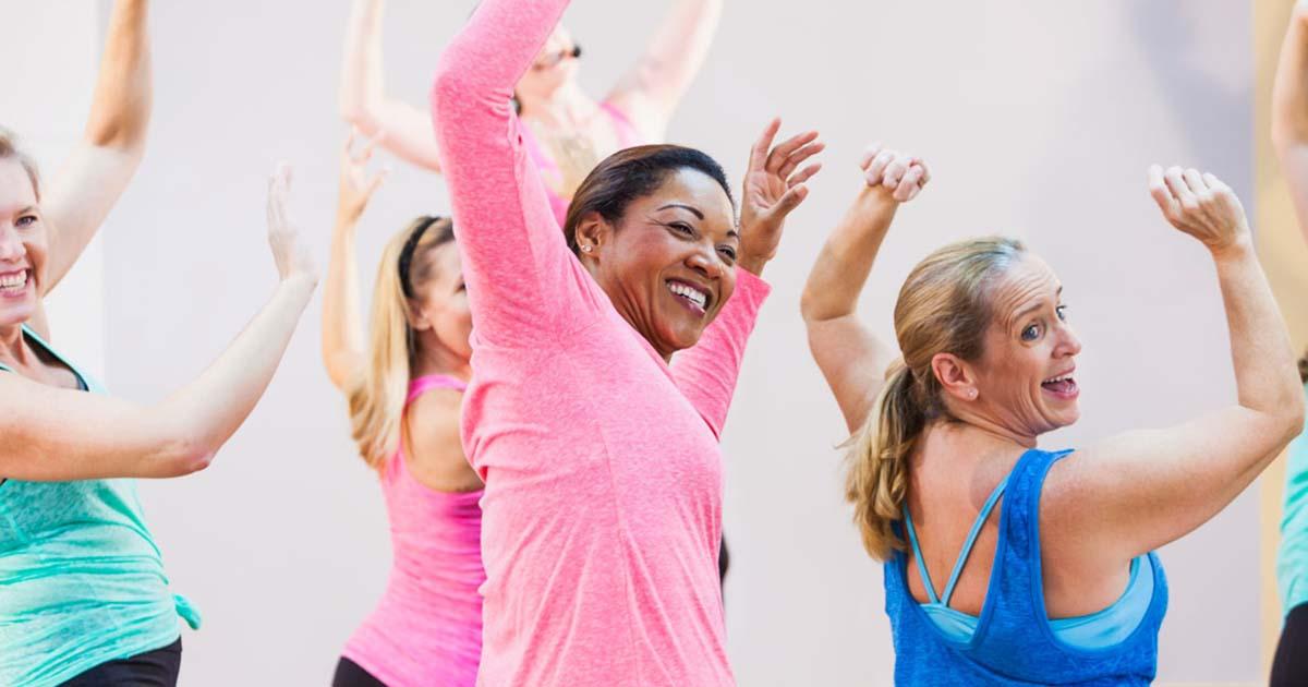A group aerobics class