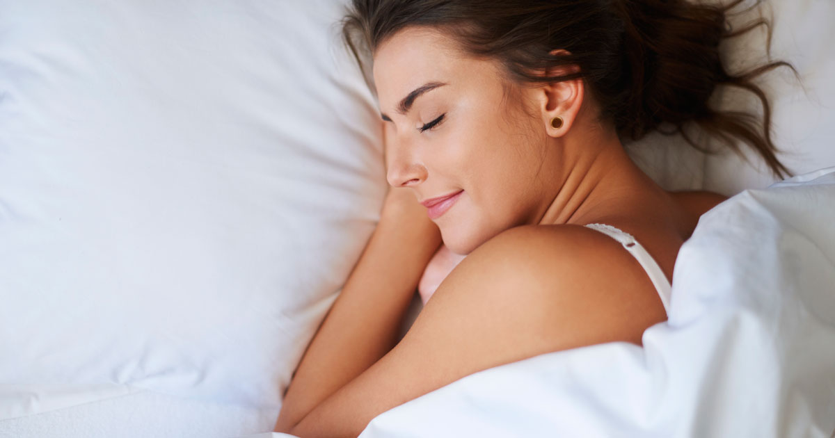 A woman is sleeping soundly